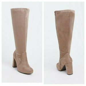 Torrid Boots Taupe Knee Faux Suede Size 8.5W